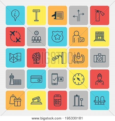 Transportation Icons Set. Collection Of Fire Extinguisher, Shopping, Globetrotter And Other Elements. Also Includes Symbols Such As Gift, Room, Shopping.
