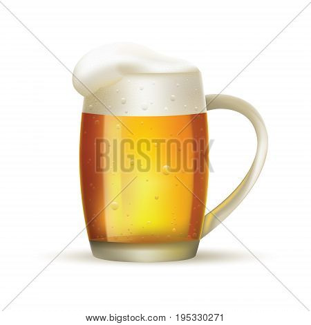 Glass of beer with foam on white isolated background. Vector illustration.