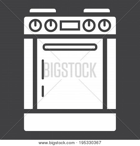 Gas stove solid icon, kitchen and appliance, electric range vector graphics, a glyph pattern on a black background, eps 10.