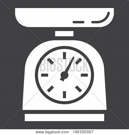 Kitchen scales solid icon, household and appliance, vector graphics, a glyph pattern on a black background, eps 10.