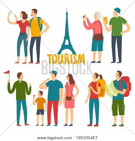 Cartoon different age tourists set. People traveling. Sightseeing vector illustration