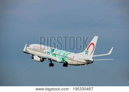 Amsterdam the Netherlands - July 6th 2017: CN-RGG Royal Air Maroc Boeing 737-800 takeoff from Polderbaan runway Amsterdam Schiphol Airport
