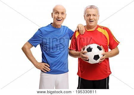 Joyful seniors in jerseys with a football isolated on white background