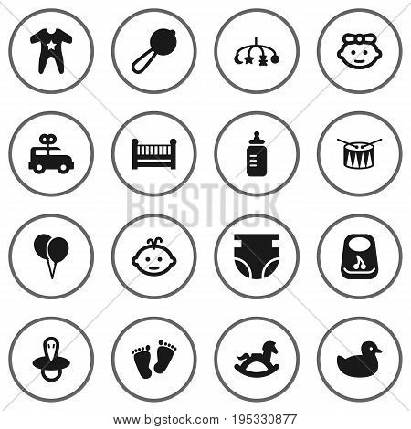 Set Of 16 Kid Icons Set.Collection Of Hangings, Milk, Nappy And Other Elements.
