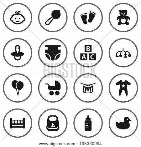 Set Of 16 Child Icons Set.Collection Of Nappy, Abc Block, Pram And Other Elements.