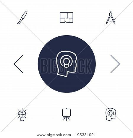 Set Of 6 Constructive Outline Icons Set.Collection Of Concept, Easel, Brain And Other Elements.