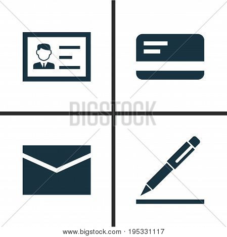 Trade Icons Set. Collection Of Envelope, Identification, Pen And Other Elements. Also Includes Symbols Such As Pen, Contract, Signing.