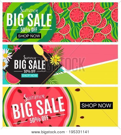 Summer Sale Abstract Banner Collection Set Background for your Business Vector Illustration EPS10