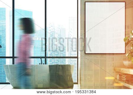 Beige Bathroom Interior, Picture, Girl