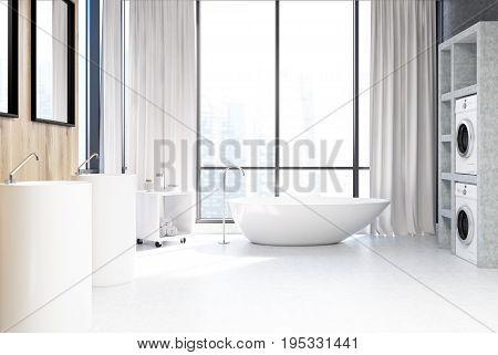 White Bathroom, Washing Machines Close Up