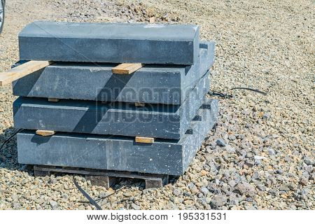 Stack Of Concrete Curbstone Close Up