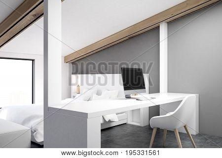 Gray Attic Bedroom, Home Office, Corner Gray