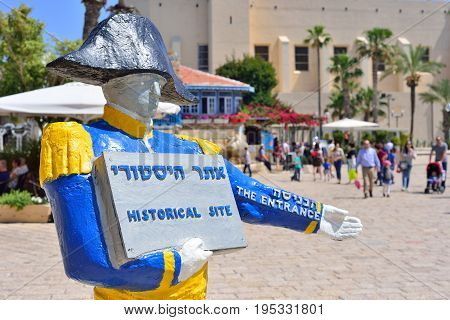 TEL AVIV ISRAEL - APRIL 2017: Napoleon statue. Welcoming touristic sign in Old Jaffa. In 1799 the French led by Napoleon Bonaparte captured the city from Ottoman Empire.