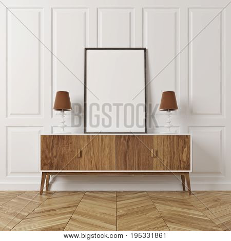 Rectangular Pattern Room, Poster On Cabinet, Wood