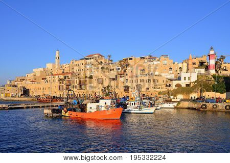 Old town and port of Jaffa of Tel Aviv city Israel poster