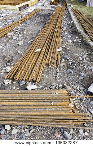 Rebar on construction site in Germany. Outdoor shot.
