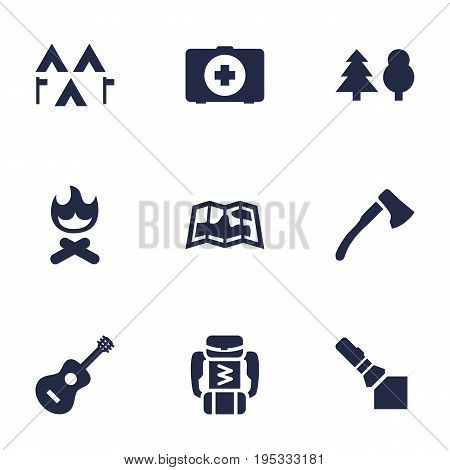 Set Of 9 Adventure Icons Set.Collection Of Campfire, First Aid Box, Backpack And Other Elements.