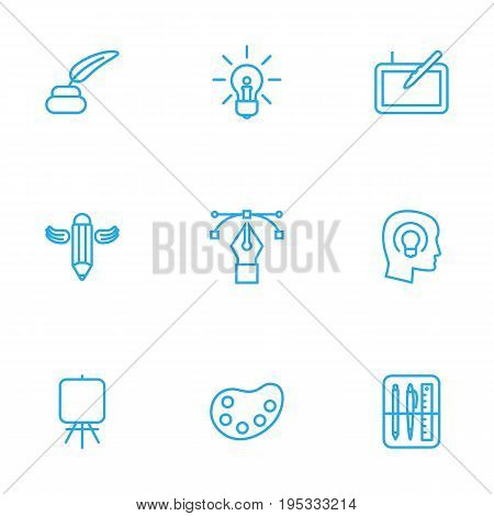 Set Of 9 Creative Outline Icons Set.Collection Of Easel, Concept, Graphic Tablet And Other Elements.