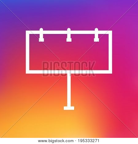 Isolated Placard Outline Symbol On Clean Background. Vector Billboard Element In Trendy Style.