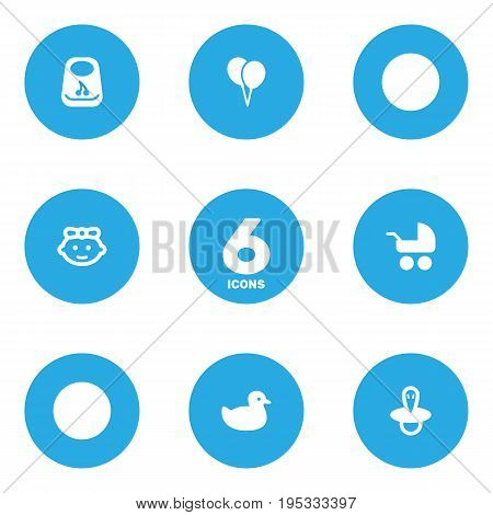 Set Of 6 Baby Icons Set.Collection Of Decoration, Girl, Duck And Other Elements.