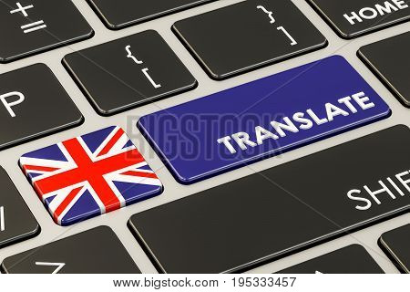 Translate concept on keyboard with British flag 3D rendering