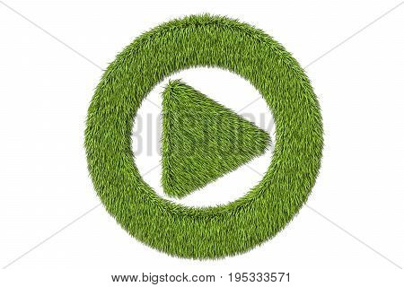 green grassy media player button 3D rendering isolated on black background