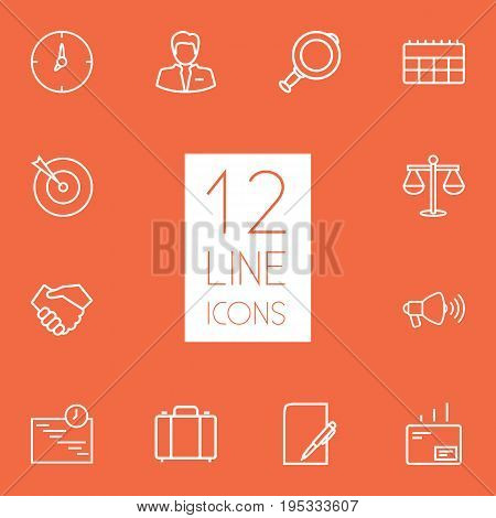 Set Of 12 Management Outline Icons Set.Collection Of Handshake, Clock, Target Elements.