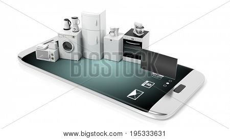 Set of home appliances on a smartphone - white background. 3d illustration