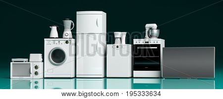Set of home appliances on green blue floor. 3d illustration
