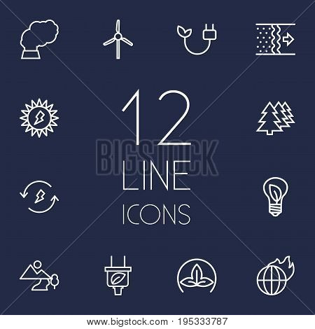 Set Of 12 Bio Outline Icons Set.Collection Of Afforestation, Eco, Wind Turbine And Other Elements.