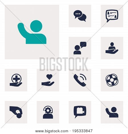 Set Of 12 Backing Icons Set.Collection Of Talk, Assistant, First-Aid And Other Elements.
