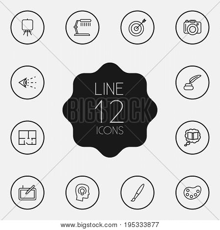 Set Of 12 Constructive Outline Icons Set.Collection Of Target, Graphic Tablet, Inkwell With Pen And Other Elements.