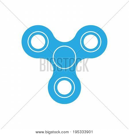 Three-bladed fidget spinner - popular toy and anti-stress tool. Blue simple flat vector icon isolated on white background.