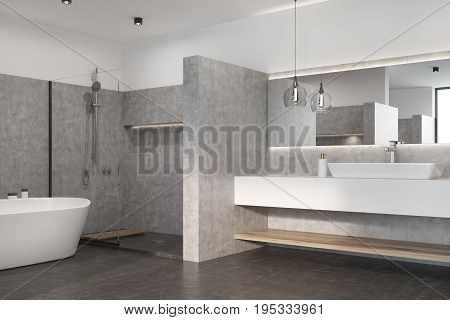 Gray Bathroom With A White Tub, Sink
