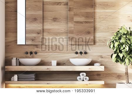 Wooden Bathroom Interior, Sinks, Tree