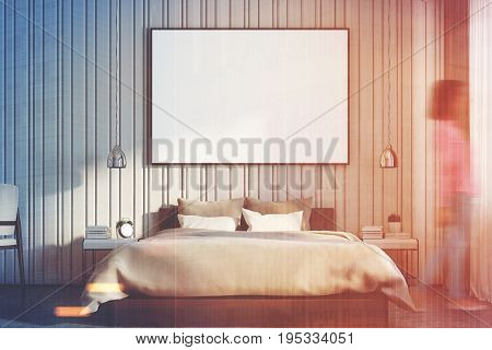 Beige Bedroom With A Large Poster Close Up, Girl