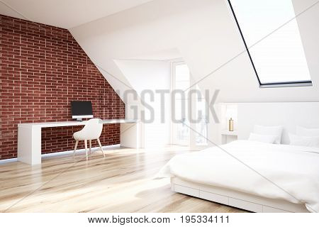 Brick attic bedroom with a home office a wooden floor a table with a computer and a white bed. Corner. 3d rendering mock up