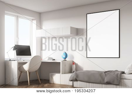 Side view of a kids room interior with a poster hanging above a bed bookshelves and a blue chair. White walls. 3d rendering mock up