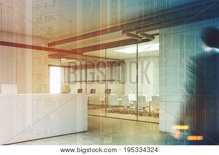 White office interior with a reception desk standing near a loft window in an office lobby with glass walls and a meeting room. Corner man. 3d rendering mock up toned image double exposure