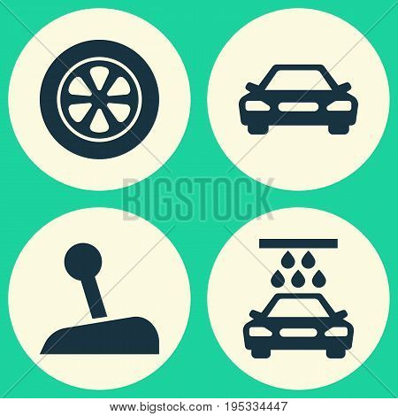 Automobile Icons Set. Collection Of Transport Cleaning, Auto, Stick And Other Elements. Also Includes Symbols Such As Automobile, Wheel, Water.