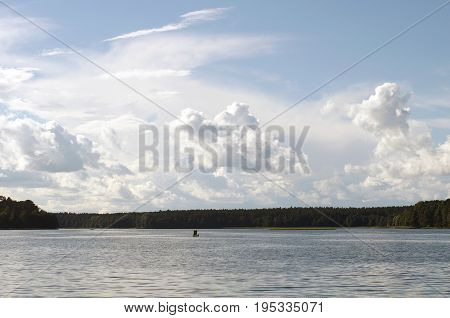 Fischer on the Biale lake, podlasie, Poland.