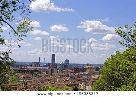 View of city of Brescia from the castle. Lombardy. Italy.