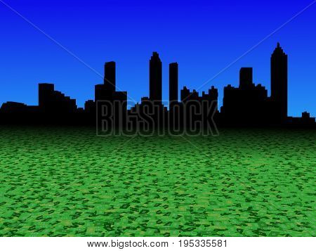 Atlanta skyline with abstract dollar currency foreground 3d illustration