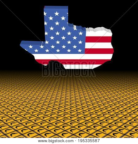 Texas map flag with tornado warning sign foreground 3d illustration