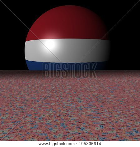 Netherlands flag sphere and abstract euros 3d illustration