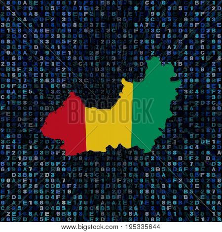 Guinea map flag on hex code 3d illustration