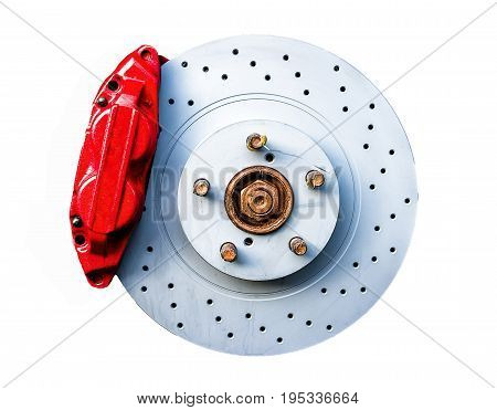Red brake caliper with perforated disk isolated