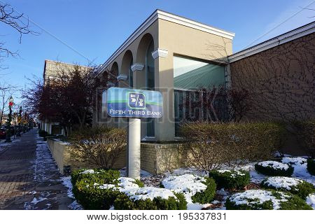 PETOSKEY, MICHIGAN / UNITED STATES - NOVEMBER 22, 2016: The Fifth Third Bank offers banking and other financial services in downtown Petoskey.