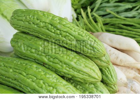 Bitter melon gourd for cooking in market