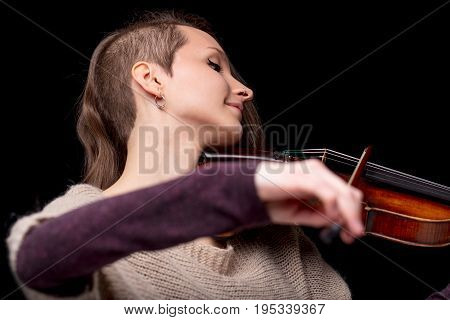 Punk Folk Violinist Woman Smiling And Playing